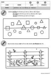 Sur – Dessus – Sous – Espace : 2eme, 3eme Maternelle – Cycle Fondamental