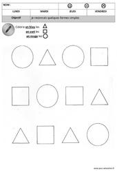 Colorie les formes – Formes : 1ere, 2eme Maternelle – Cycle Fondamental