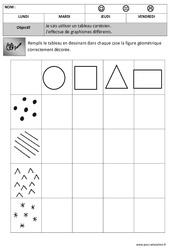 Tableau à double entrée – Forme + graphisme : 2eme, 3eme Maternelle – Cycle Fondamental