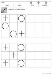 Quadrillage – Reproduire des formes : 1ere, 2eme Maternelle – Cycle Fondamental