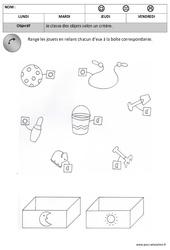 Classer des objets : 1ere, 2eme Maternelle – Cycle Fondamental