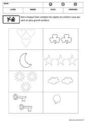 Comparer les nombres – Quantités et nombres : 1ere, 2eme Maternelle – Cycle Fondamental