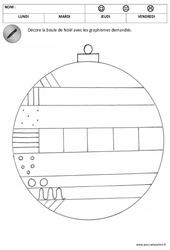 Décore les boules de noël – Graphisme : 1ere, 2eme Maternelle – Cycle Fondamental