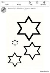 Décore les étoiles – Graphisme – Noël : 1ere, 2eme Maternelle – Cycle Fondamental