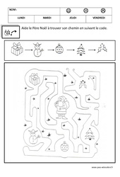 Relier en suivant un code – Logique – Noël : 1ere, 2eme Maternelle – Cycle Fondamental