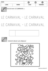 Ecriture – Carnaval : 1ere, 2eme Maternelle – Cycle Fondamental