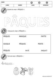 Lecture – Ecriture – Pâques : 1ere Maternelle – Cycle Fondamental