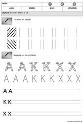 Lettres A,K, X – Obliques : 2eme Maternelle – Cycle Fondamental