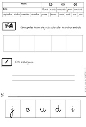 Jeudi – Jours de la semaine – Ecriture cursive : 3eme Maternelle – Cycle Fondamental