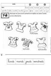 Jours de la semaine – Fiches exercices – Ecriture cursive : 3eme Maternelle – Cycle Fondamental