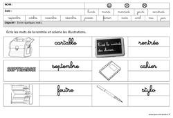 Rentrée – Ecrire des mots en cursive : 3eme Maternelle – Cycle Fondamental
