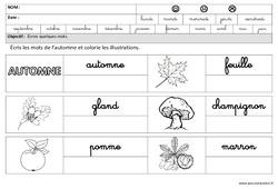 Automne – Ecrire des mots en cursive : 3eme Maternelle – Cycle Fondamental