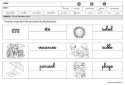 Eté – Ecrire des mots en cursive : 3eme Maternelle – Cycle Fondamental
