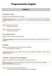 Anglais – Tout le programme période 1 – Famille Vadrouille : 3eme Primaire