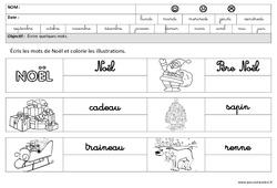 Noël – Ecrire des mots en cursive : 3eme Maternelle – Cycle Fondamental