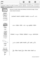Carnaval – Chandeleur – Lire des mots en cursive : 3eme Maternelle – Cycle Fondamental