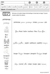 Printemps – Lire des mots en cursive : 3eme Maternelle – Cycle Fondamental