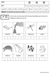 Son [U] dans la syllabe – Phonologie : 3eme Maternelle – Cycle Fondamental