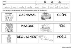 Ecrire des mots – Carnaval et chandeleur : 3eme Maternelle – Cycle Fondamental
