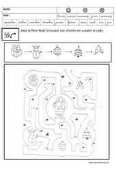 Coloriage codé – Noël : 3eme Maternelle – Cycle Fondamental