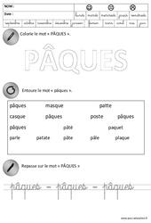 Pâques – Lecture – Ecriture : 3eme Maternelle – Cycle Fondamental
