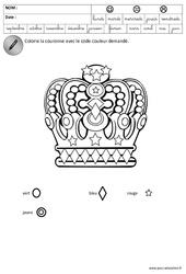 Coloriage codé – Fête des rois – Logique : 3eme Maternelle – Cycle Fondamental