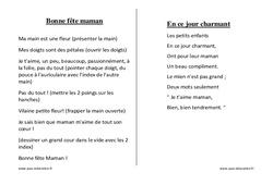 Fêtes des mères – Chants – Comptines – Fiches  : 1ere, 2eme, 3eme Maternelle – Cycle Fondamental