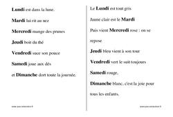 Jours de la semaine – Chants – Comptines – Fiches  : 1ere, 2eme, 3eme Maternelle – Cycle Fondamental