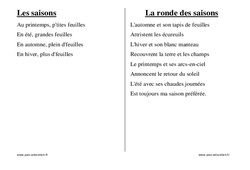 Saisons – Chants – Comptines – Fiches  : 1ere, 2eme, 3eme Maternelle – Cycle Fondamental