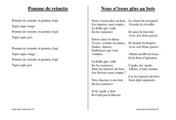 Chants du répertoire traditionnel – Fiches  : 1ere, 2eme, 3eme Maternelle – Cycle Fondamental