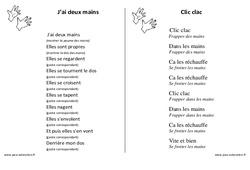Mains – Jeux de doigts – Fiches  : 1ere, 2eme, 3eme Maternelle – Cycle Fondamental