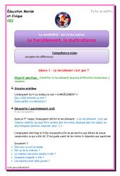 Harcèlement – Maltraitance – Fiche de préparation : 3eme Primaire