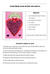 Carte coeur pour la fête des mères – Fête des mères : 3eme, 4eme, 5eme Primaire