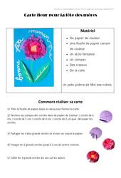 Carte fleur pour la fête des mères – Fête des mères : 3eme, 4eme, 5eme Primaire