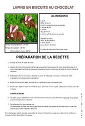 Lapins en biscuits au chocolat – Recette – Pâques – Lecture : 3eme, 4eme, 5eme Primaire
