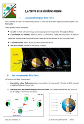 La Terre et le système solaire – Cours : 6eme Primaire