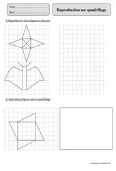Reproduction sur quadrillage – Exercices corrigés – Géométrie – Mathématiques : 5eme Primaire