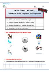 Masses- Fiches gramme et kilogramme – Examen Evaluation – Bilan : 2eme Primaire