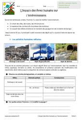 Impact des êtres humains sur l'environnement – Exercices : 6eme Primaire