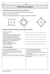 Construire une figure – Exercices corrigés – Géométrie – Mathématiques : 4eme Primaire