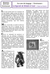 Légende de Dédale et Icare – Art du langage – Histoire des arts : 3eme, 4eme Primaire