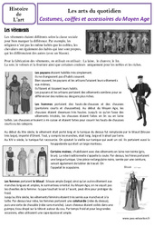 Costumes et coiffes  du Moyen Age – Arts du quotidien – Histoire des arts : 4eme Primaire