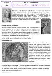 Architecture militaire – Fortifications Vauban – Arts de l'espace – Histoire des arts – Temps modernes : 4eme, 5eme Primaire