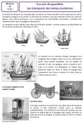 Transports des temps modernes – Arts du quotidien – Histoire des arts : 4eme, 5eme Primaire