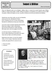 Sonnet à Hélène – Pierre de Ronsard – Arts du langage – Histoire des arts : 4eme, 5eme Primaire