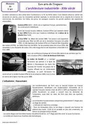 Architecture industrielle – XIXe siècle – Arts de l'espace – Histoire des arts : 4eme, 5eme Primaire