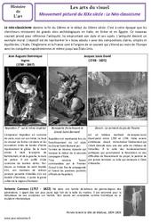 Néo – classicisme – XIXe siècle – Arts du visuel – Histoire des arts : 4eme, 5eme Primaire