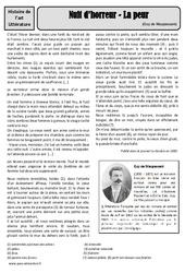 La peur – Nouvelle – Maupassant – Arts du langage – XIXe siècle – Histoire des arts : 4eme, 5eme Primaire