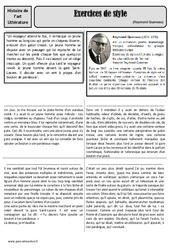 Exercices de style – Raymond Queneau – Arts du langage – Histoire des arts – XXème siècle : 5eme Primaire