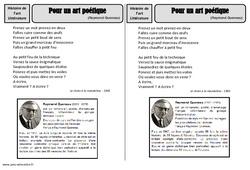 Art poétique – Raymond Queneau – Arts du langage – Histoire des arts – XXème siècle : 5eme Primaire